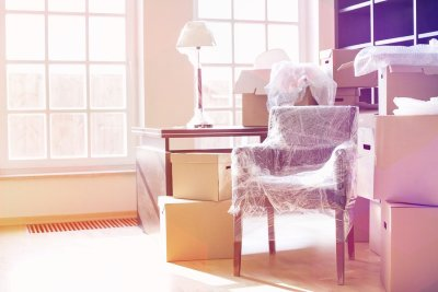 Furniture wrapped in plastic