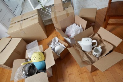 Kitchenware in Boxes