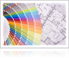 Paint Swatches over House Blueprint